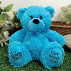 Page Boy Teddy Bear 30cm Bright Blue