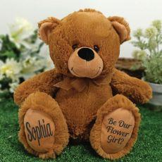 Flower Girl Teddy Bear 30cm Brown