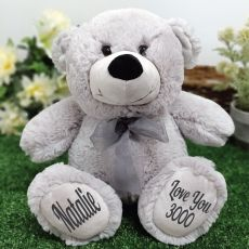 Personalised Message Bear 30cm Silver Grey