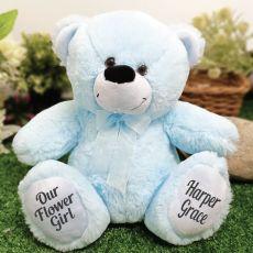 Flower Girl Teddy Bear 30cm Light Blue