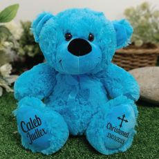 Christening Personalised Teddy Bear 30cm Bright Blue