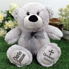 Christening Personalised Teddy Bear 30cm Grey