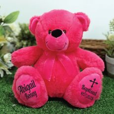 Baptism Personalised Teddy Bear 30cm Hot Pink