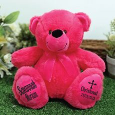 Christening Personalised Teddy Bear 30cm Hot Pink