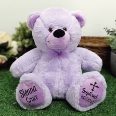 Baptism Personalised Teddy Bear 30cm Lavender