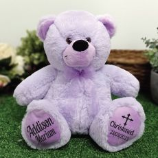 Christening Personalised Teddy Bear 30cm Lavender