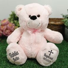 Baptism Personalised Teddy Bear 30cm Light Pink