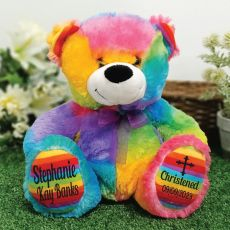 Christening Personalised Teddy Bear 30cm Rainbow