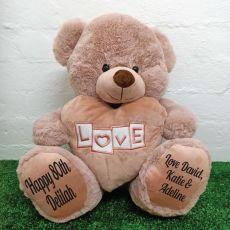 80th Birthday Love Bear With Heart 40cm Dusky Pink