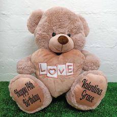 Birthday Love Bear With Heart 40cm Dusky Pink