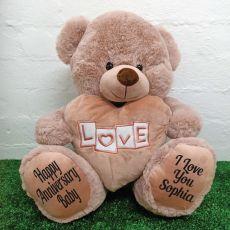Anniversary Love Bear With Heart 40cm Dusky Pink