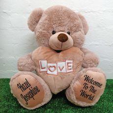 Baby Love Bear With Heart 40cm Dusky Pink