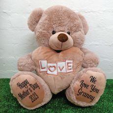 Grandma Love Bear With Heart 40cm Dusky Pink