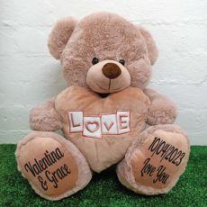 Love Bear With Heart 40cm Dusky Pink