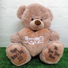 Mum Love Bear With Heart 40cm Dusky Pink
