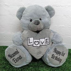 1st Birthday Love Bear With Grey Heart 40cm