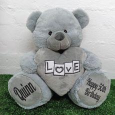 50th Birthday Love Bear With Grey Heart 40cm