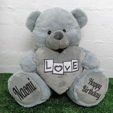 Birthday Bear With Grey Heart 40cm