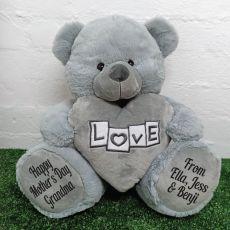 Grandma Love Bear With Grey Heart 40cm
