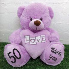 50th Birthday Love Bear With Heart 40cm Lavender
