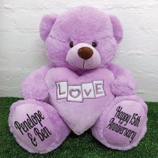 Anniversary Love Bear With Heart 40cm Lavender