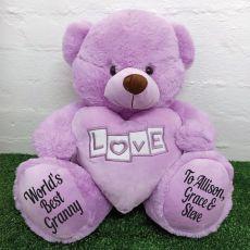 Grandma Love Bear With Heart 40cm Lavender