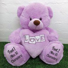 Mum Love Bear With Heart 40cm Lavender