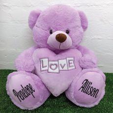 Love Bear With Purple Heart 40cm