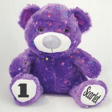 1st Birthday Teddy Bear 40cm Hollywood - Purple