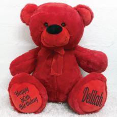 80th Birthday Teddy Message Bear 40cm Plush Red