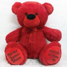Baby Teddy Message Bear 40cm Plush Red