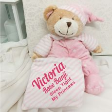 Personalised Baby Girl Bear Cuddles Pink