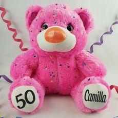 50th Birthday Teddy Bear 40cm Hollywood Pink
