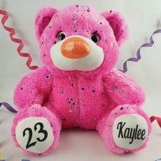 Personalised Birthday Teddy Bear 40cm Hollywood Pink
