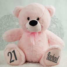 Personalised 21st Birthday Teddy Bear 40cm -Light Pink