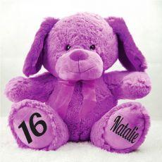 16th Birthday Bear 40cm Sam the Purple Dog