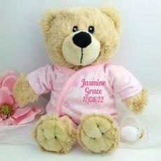 Baby Girl Teddy in Personalised Pyjamas