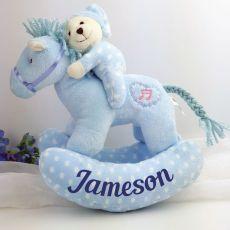 Personalised Musical Rocking Horse Plush Toy Blue