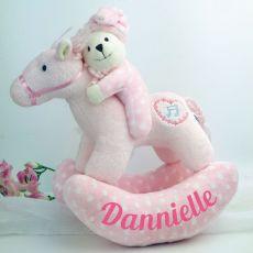 Personalised Musical Rocking Horse Plush Toy Pink