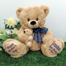 Grandma Bear & Baby Bear Personalised Plush - Blue