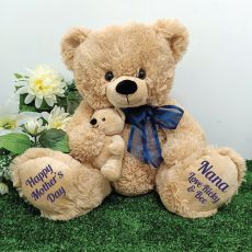 Nana Bear & Baby Bear Personalised Plush - Blue