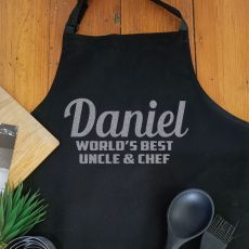 Uncle Personalised  Apron with Pocket - Black