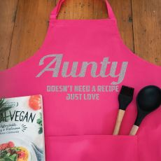 Aunt Personalised  Apron with Pocket - Pink