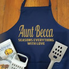Aunt Personalised  Apron with Pocket - Navy