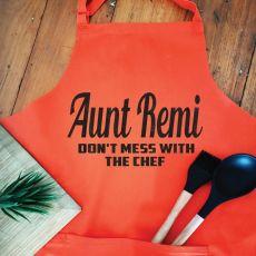 Aunt Personalised  Apron with Pocket - Orange