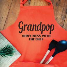 Grandpa Personalised  Apron with Pocket - Orange