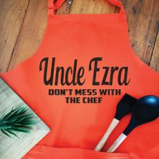 Uncle Personalised  Apron with Pocket - Orange