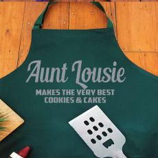 Aunt Personalised  Apron with Pocket - Pea Green
