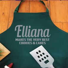Personalised Apron with Pocket - Pea Green