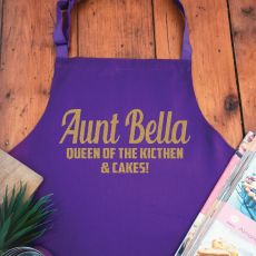 Aunt Personalised  Apron with Pocket - Purple